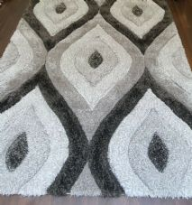 Rugs Approx 6x4Ft 120x160CM Carved 3D Design Quality Grey-Dark Grey Rugs Woven
